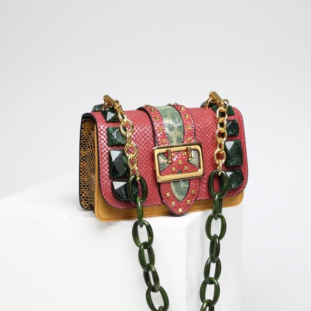 New Luxury Handbags Women Bags Designer Small Serpentine Green Stone Leather Tote Chains Strap Crossbody