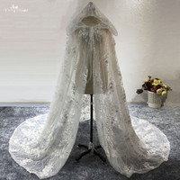 LZP416 New Style Flowers Long Wedding Capes White Lace Hooded Wedding Jackets Wedding Accessories
