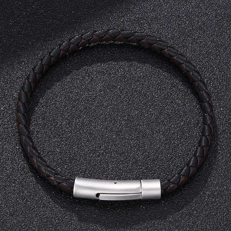 Hot Sale Black Brown Braided Leather Bracelet Men Simple Jewelry Vintage Stainless Steel Buckle Trendy Bracelet Wristband HP522 in Charm Bracelets from Jewelry Accessories