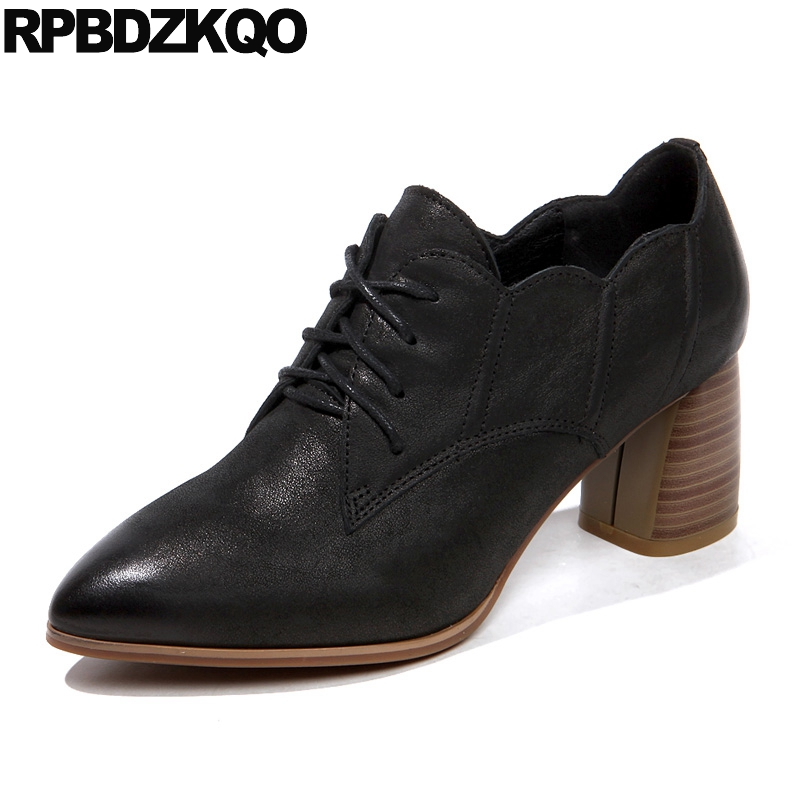 Italian Lace Up Oxford Heels Size 4 34 2018 Medium Women Genuine Leather Black Famous High Block Brand Pumps Pointed Toe Shoes famous brand new black women s medium m ruched cowl neck sheath dress $90 076