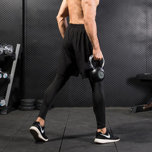 Fake Two Piece Compression Pants Men Shorts And Leggings Sportswear Gym Fitness Tight Sports Trousers Quick Dry Mens
