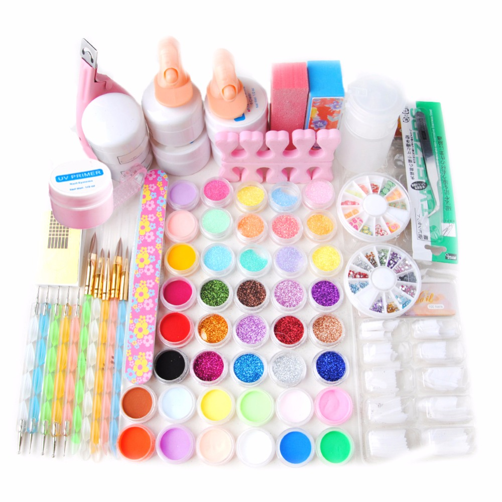 Professional Nail Art Tools Kit UV Gel Finger Extension Nail Burshes Acrylic Powder 42Pcs Powder Glitter Nail Decoration Tip Kit мост wi fi ubiquiti nbe m2 13 nanobeam m2 802 11n 150mbps 2 4ghz 13dbi