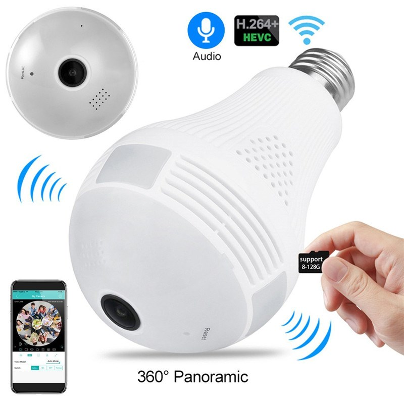 Bulb Lamp Wifi Camera With Audio 1080P HD 360 Degree Indoor FishEye Wireless Home Camera Night