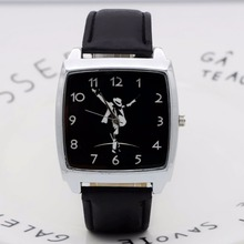 Cartoon Michael Jackson Rectangle dial Children's Watches Women's Kids Student b