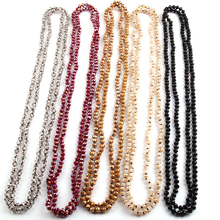 Free Shipping Fashion Bohemian Tribal Jewelry 6mm Crystal knotted long Halsband Glass Crystal Necklace