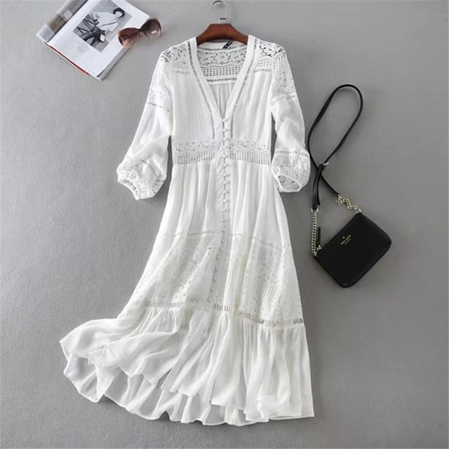 345f5842f0b7 New Arrival Women Summer Dress Sexy V-neck Long Sleeve Lace Patchwork White  Cotton Long Dress Casual Beach Dress Vestidos Robe
