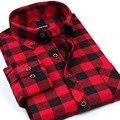Новый Мужской Плед Фланелевые Рубашки С Длинным Рукавом Формальный Бизнес Платье Теплые Рубашки Случайные мужчины рубашку camisa masculina