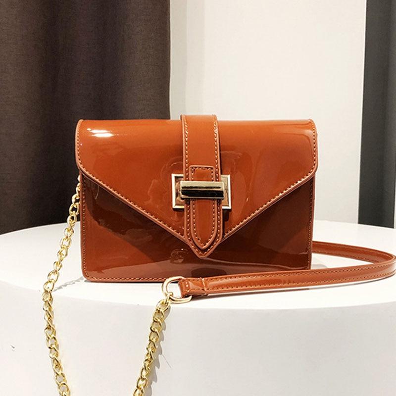 Simple Fashion Patent Leather Bag Women Crossbody Messenger Bag Handbag Mini Clutch Handbag Popular