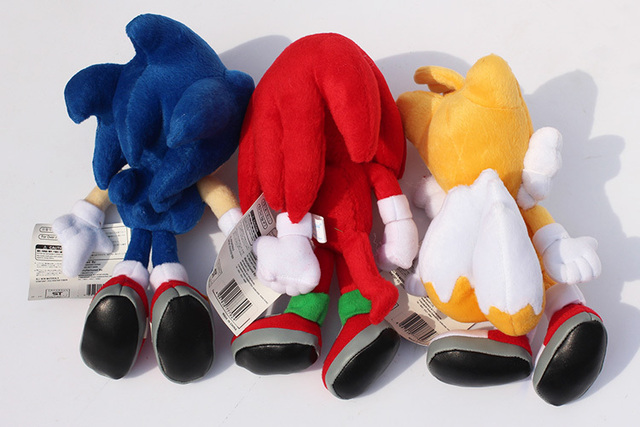 "9"" 23cm 3pcs/set Sonic the hedgehog Sonic Tails Knuckles the Echidna Soft Stuffed Plush Toys With Tag"