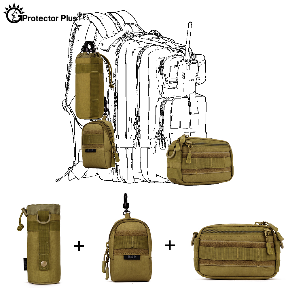PROTECTOR PLUS <font><b>Tactical</b></font> Pouch Set 3 Bags <font><b>Molle</b></font> Expand Outdoor Sports Hunting Cycling Camo Bag Single Shoulder Waist Waterproof image