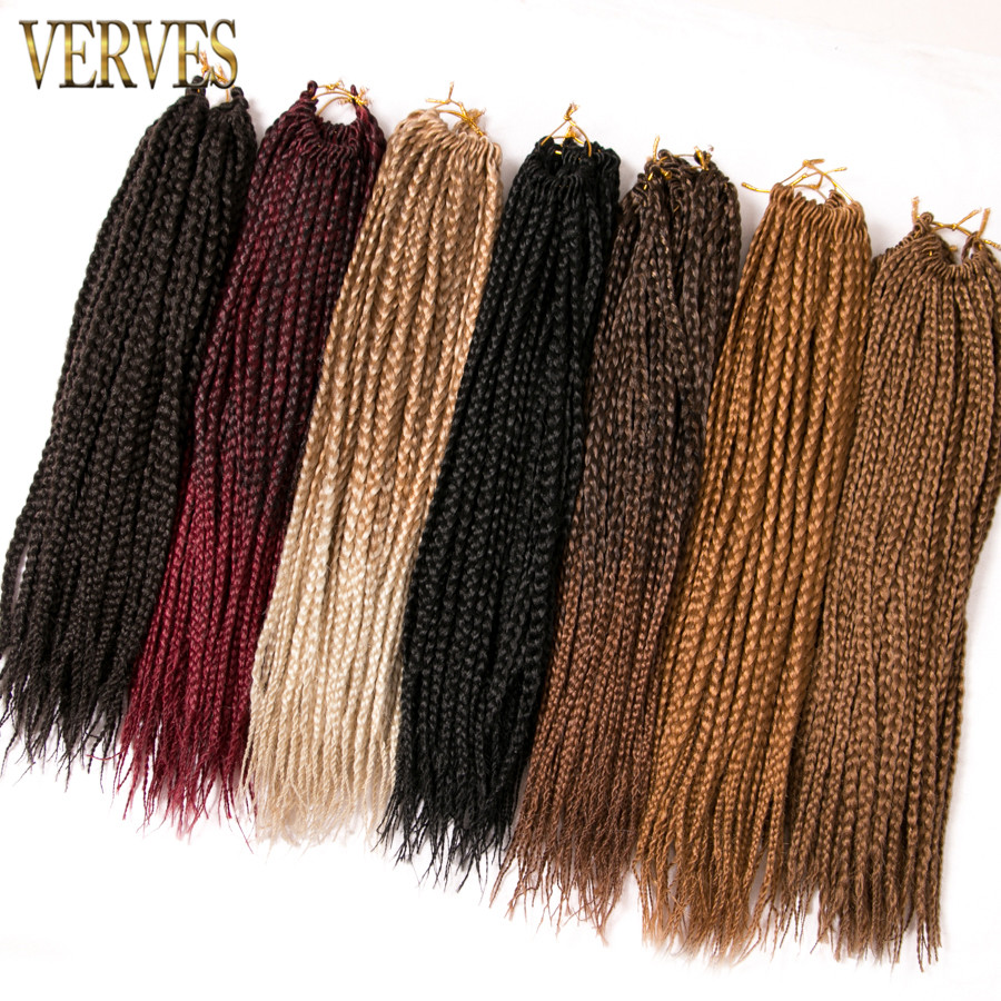 VERVES Box Braids Hair ombre Crochet Extensions de cheveux 22 racines - Cheveux synthétiques