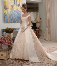 Free Shipping Expensive Ball Gown Puffy Long Train Cathedral Train Wedding Dresses With Appliques CMY004