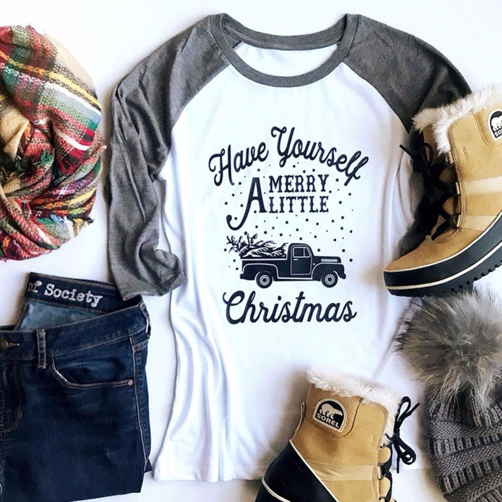 Have Yourself Merry A Little Christmas Baseball T-Shirt Fashion Splicing Women Tee Three Quarter Sleeve O-Neck Casual Autumn Top