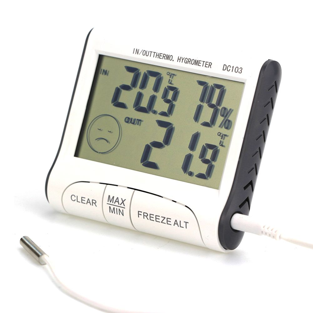 Digital LCD Outdoor Indoor Weather Thermometer Hygrometer Humidity Meter C/F Temperature Controller Button Battery Household
