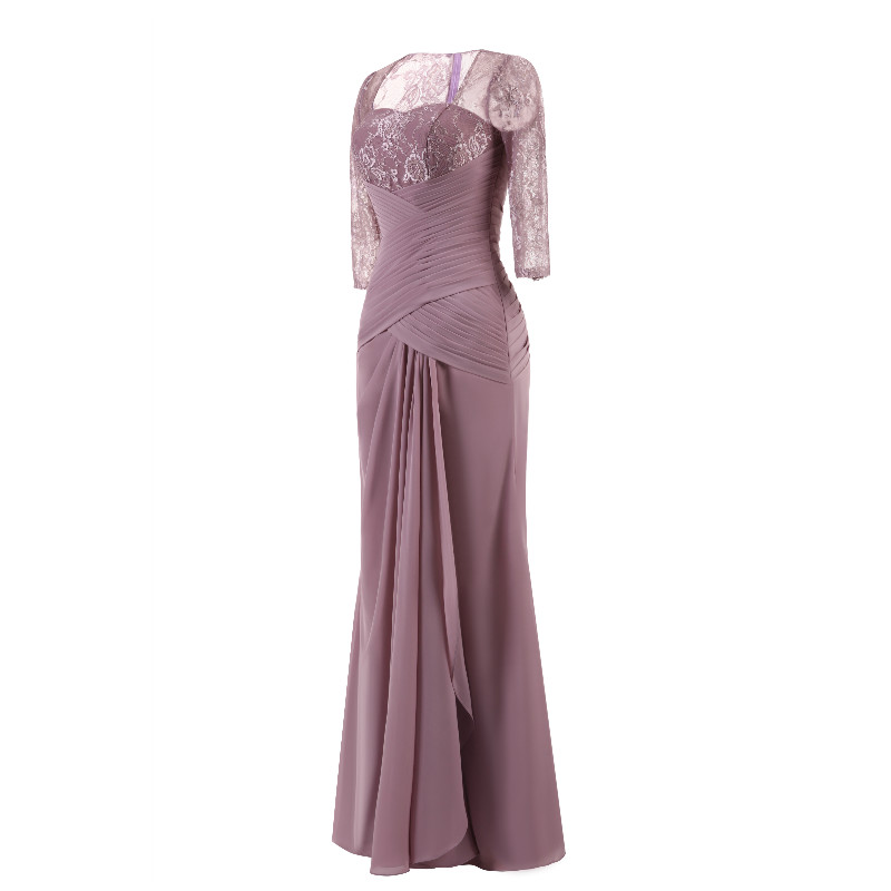 W.JOLI Long Evening Dress Elegant Lace Pleat Bride Banquet Floor-length Prom Gown lavender Purple Vintage Wedding Party Dress 3