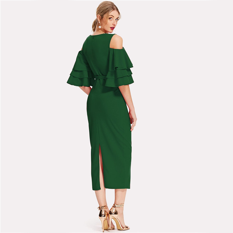 COLROVIE Green Cold Shoulder Ruffle Sleeve Belted V Neck Split Party Dress Women 2018 Autumn Solid Sexy Midi Bodycon Dresses 6