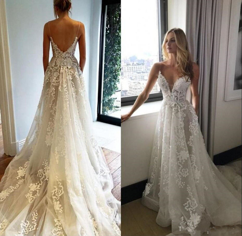 Sexy Wedding Dress With Spaghetti Straps Backless Lace Appliques Tulle Bridal Gowns For Summer Spring Wedding Vestidos De Novia