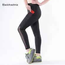 BlackArachnia Sexy Black Mesh Leggings With Pockets Gym Leggings Sports Running Jogging Yoga Pants High Waist Yoga Leggings New active heart pattern mesh sports leggings in black