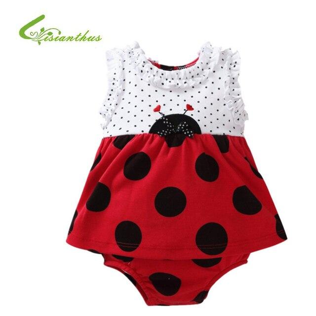 82a11516f Macacão de bebê Menina Conjuntos de Roupas de Verão Meninas Roupas Bebes  Joaninha Bebê Recém-
