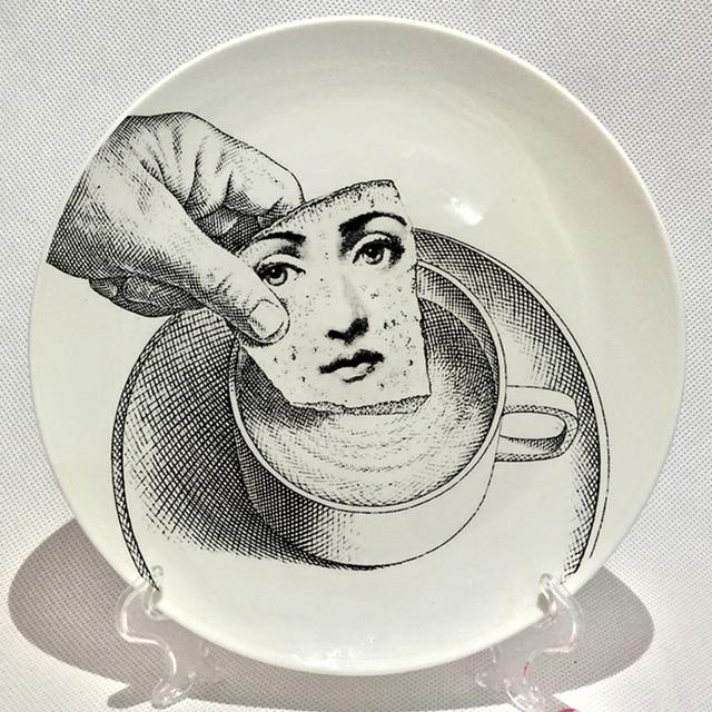 Vintage piero Fornasetti prints in plates Art Beauty Face SKULL Custom los platos for art bedroom & Vintage piero Fornasetti prints in plates Art Beauty Face SKULL ...
