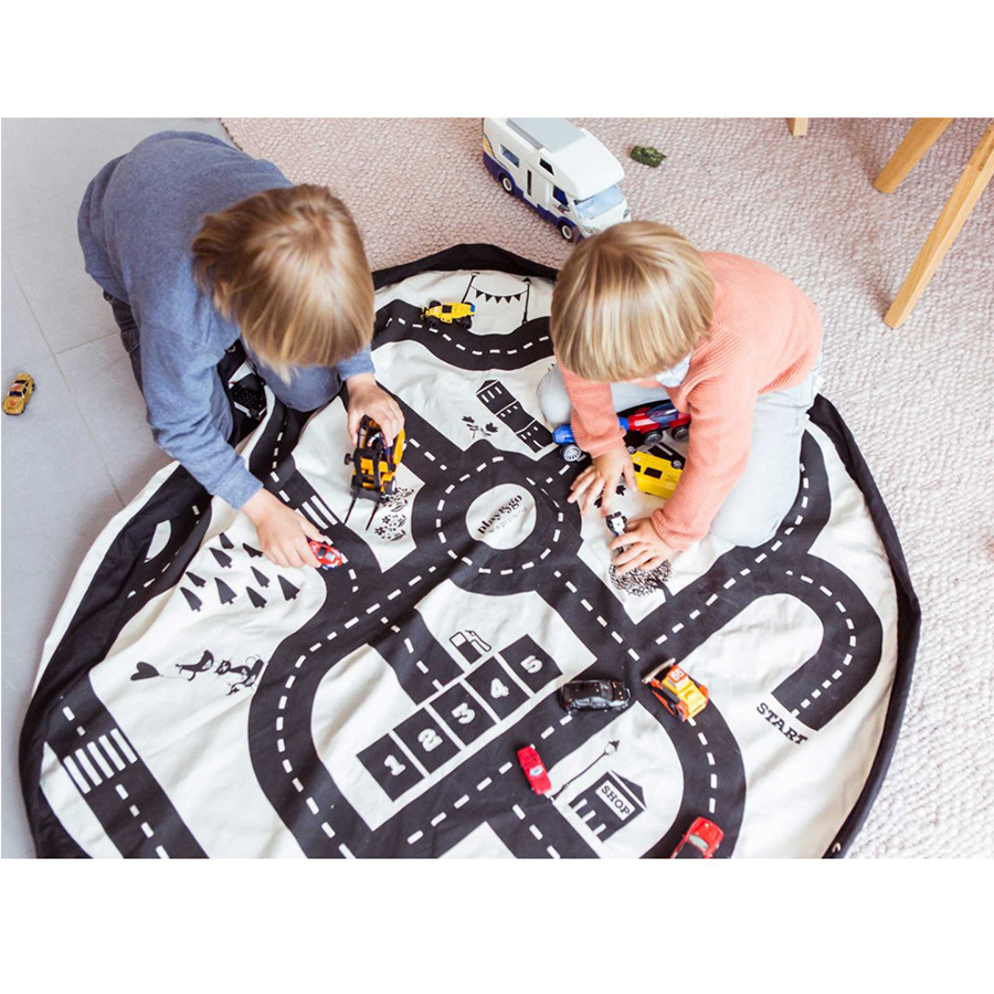 Toy Storage Bag Mat Travel Picnic Mat Originality Creative Waterproof Bag Pocket Crawl Mat Baby Playmats Drawstring Play Mat