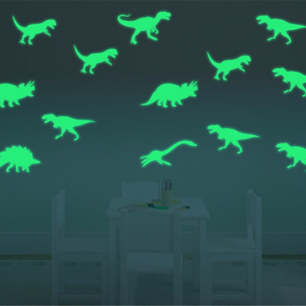 9Pcs Glow In The Dark Light Up Dinosaurs Toys Stickers Ceiling Decal Baby Kid Sleeping Bedroom Christmas Halloween Decoration