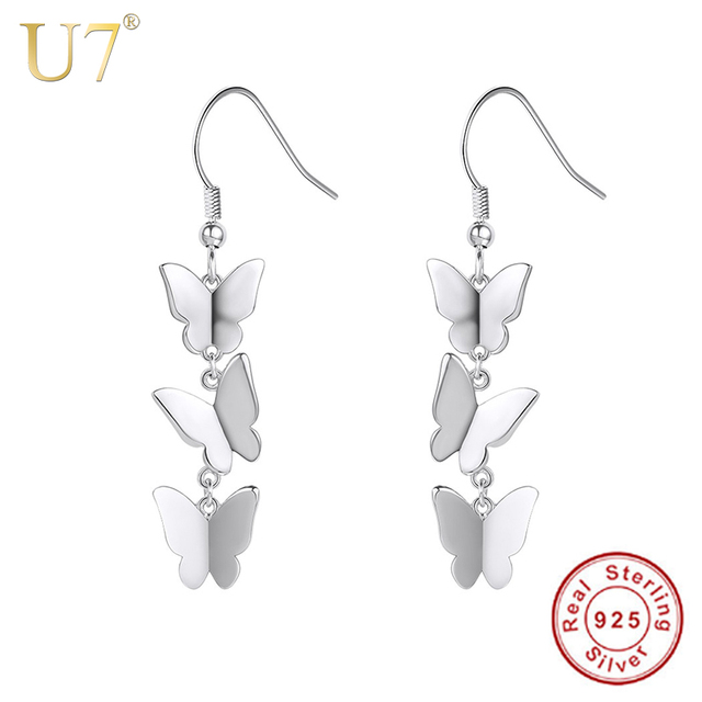 U7 925 Sterling Silver Dangle Earrings Brincos Erfly Dainty Drop Earings Bridesmaid Gift Women