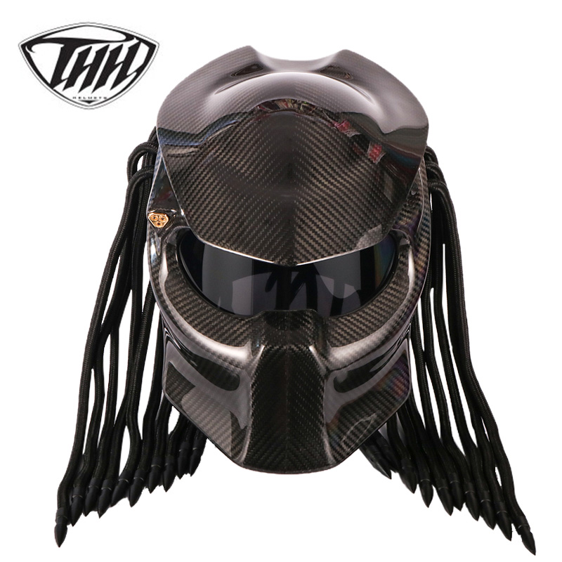 Хищник углеродного волокна мотоциклетный шлем анфас Iron Warrior человек шлем безопасности DOT Сертификация черные туфли высокого качества красо