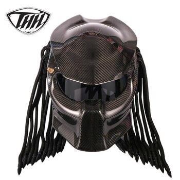 Хищник углеродного волокна мотоциклетный шлем анфас Iron Warrior человек шлем безопасности DOT Сертификация черные туфли высокого качества красо...