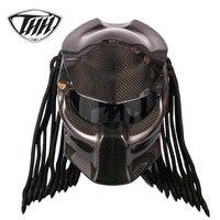 Predator углеродного волокна мотоциклетный шлем анфас Железный Воин человек шлем безопасности DOT Сертификация черные туфли высокого качества