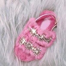 Luxury Hand Made Flower Slippers Rabbit Fur Flip Flop Ladies Shoe 2019 Flat New Fashion Green/blue/brown Crystal Dimond Sandals