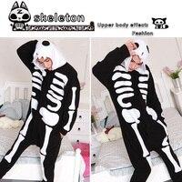 Gratis Verzending Halloween Schedel Paar Skelet Cosplay Kostuum Suits Onesie Pyjama Pyjama Pyjama Party Een Stuk