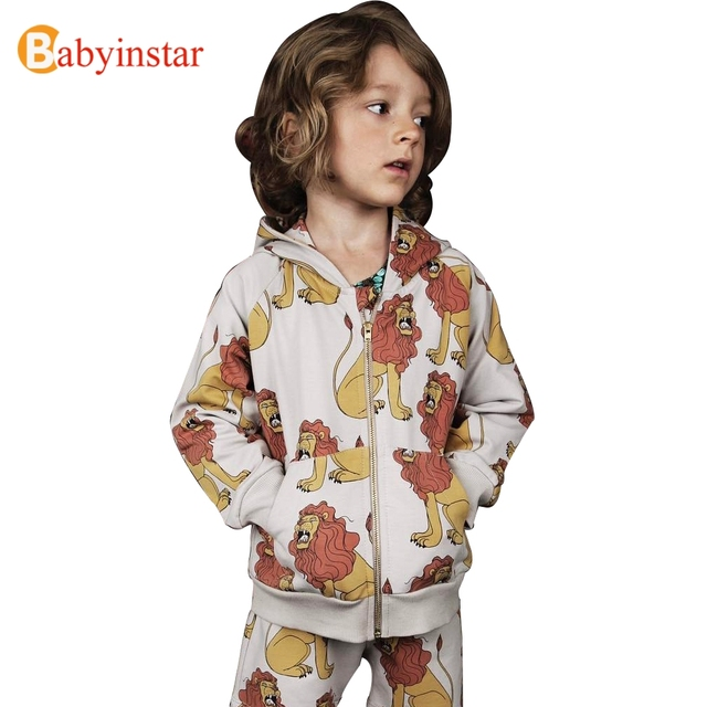 Babyinstar New 2017 Boys Outwear & Coat Spring Lion Pattern Girl Jacket Outerwear Fashion Coat Children Apparel Kid's Clothing