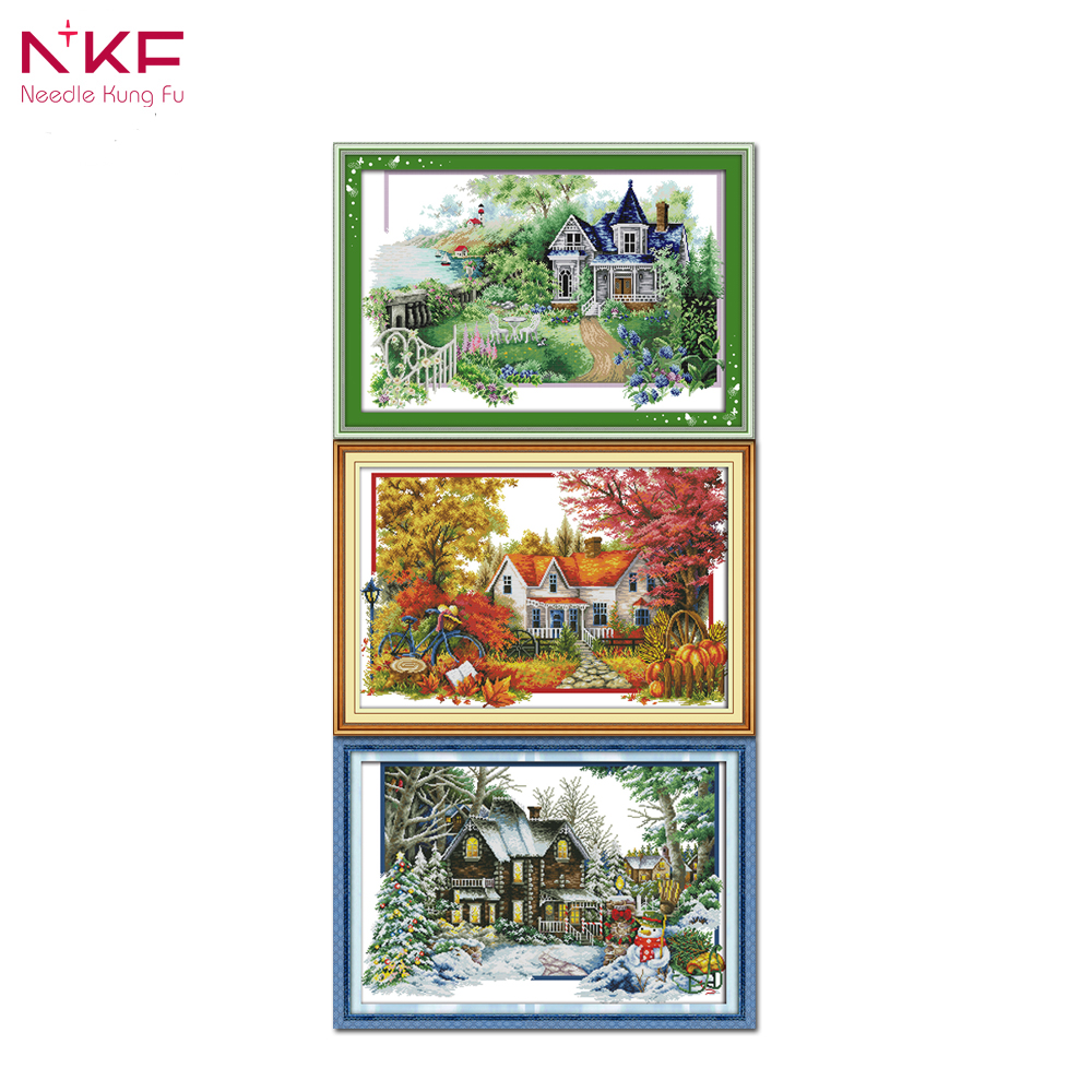 100% True Joy Sunday R411 R412 2 14ct 11ct Counted And Stamped Home Decoration Yellow Fortune God Chinese Cross Stitch Needlework 50% OFF 1