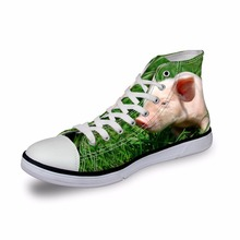 Noisydesigns Girls sneakers women casual vintage vulcanized shoes high top footwear cute pig in grass 3D print flat canvas