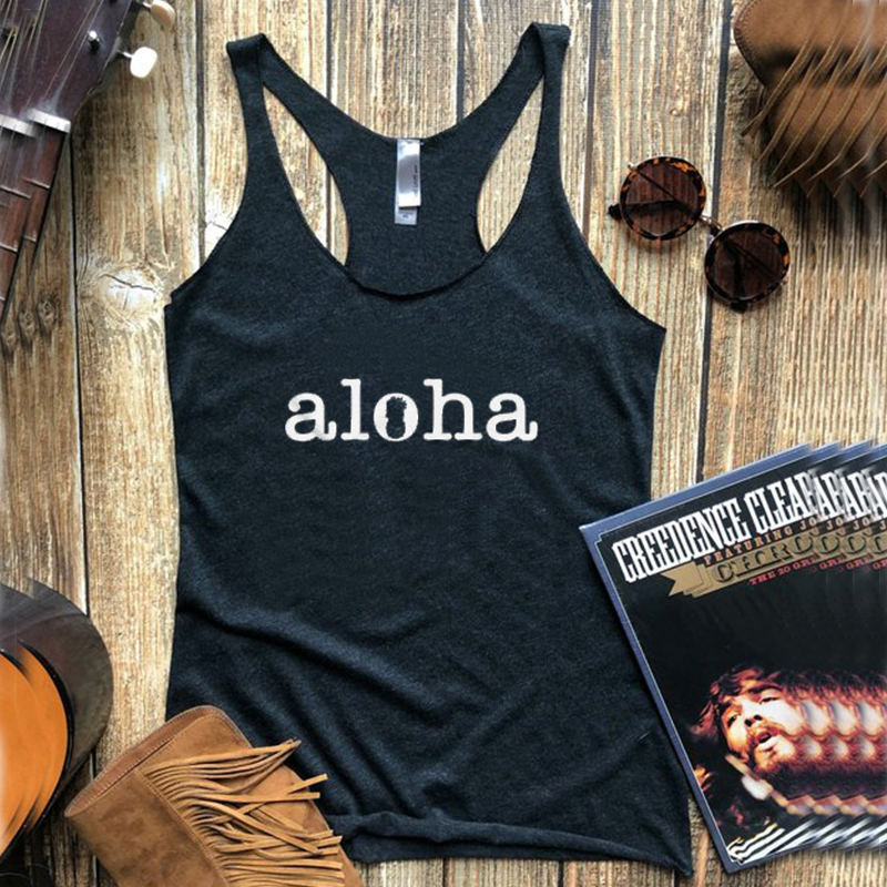 hakuna matata tank top womens aloha gothic plus size tanks white summer 2019 girl sexy clothes beach love festival tops 2019 in Tank Tops from Women 39 s Clothing