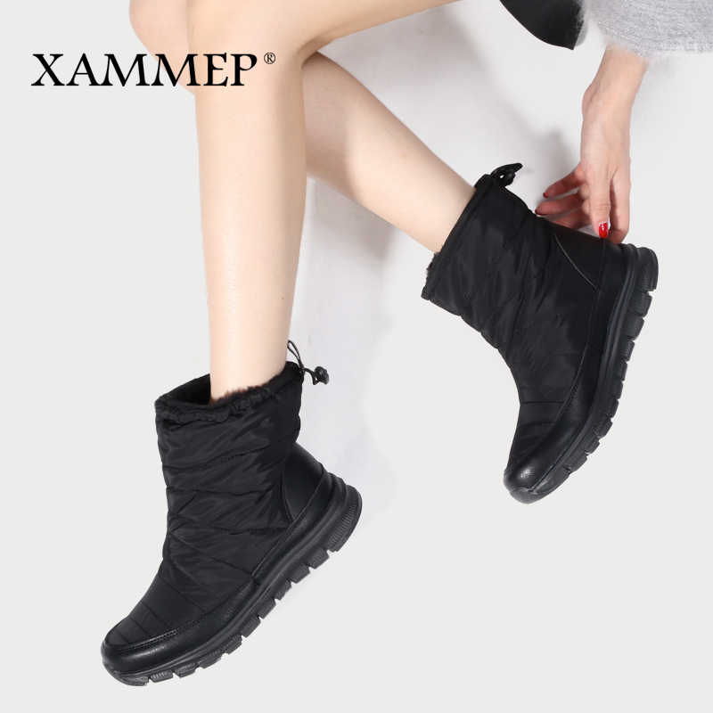 Kadın Kış Ayakkabı Marka Kadın Ayakkabı Orta Buzağı Çizmeler Peluş Ve Yün Yüksek Kaliteli Kadın Kışlık Botlar Artı Büyük boyutu Xammep