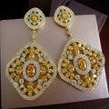 YoGe E7595Y  fashion AAA cubic zirconia clear/yellow stone long big drop earrings dress patry accessaries,