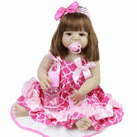 23'' Early Educational Reborn Babies Toys For Girl Toddler Truly Full Vinyl Body Realistic Reborn Baby Dolls Rooted Hair HOT