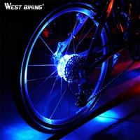 WEST BIKING Cycling Hubs Light Bike Wheel Rim Lamp Bicycle Front Rear Light Waterproof Spoke Warning