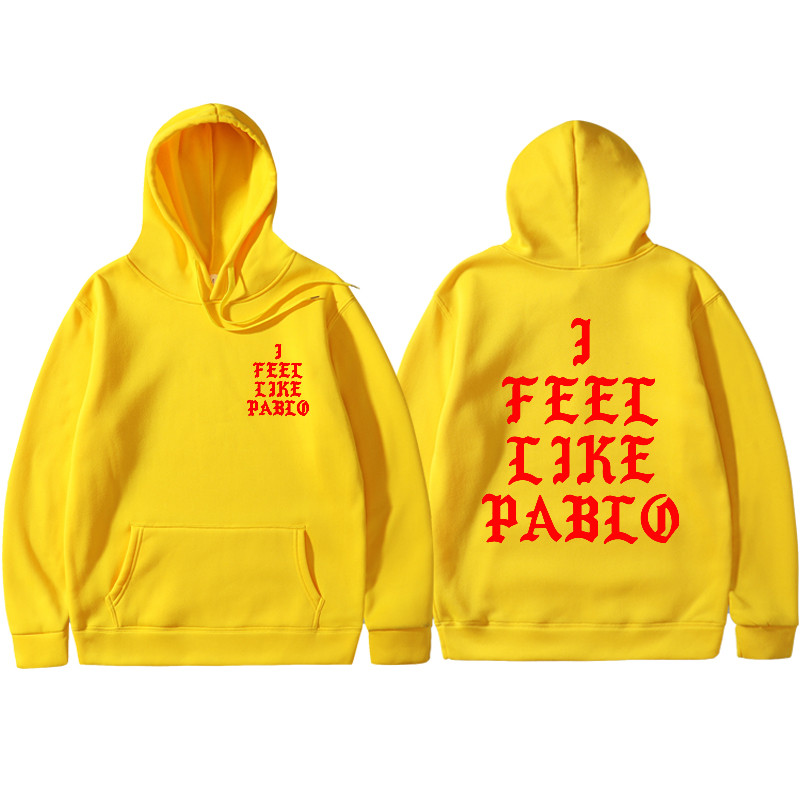 2019 Spring Kanye West Hoodies I FEEL LIKE PABLO Hooded Sweatshirts Men Hip Hop Lover Streetwear Red Letter Print Black Hoodies