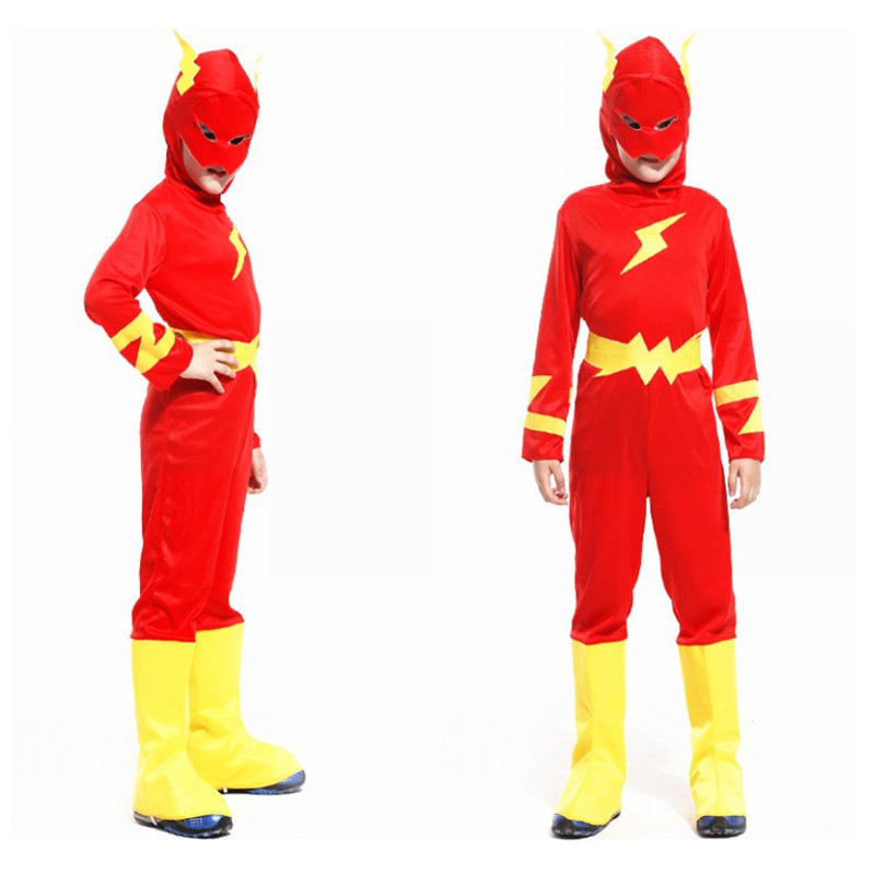 The Flash Cosplay Costume for Kids Superhero Fancy Dress Fantasia Halloween Costume for Boys Muscle Clothing Mask Set Split