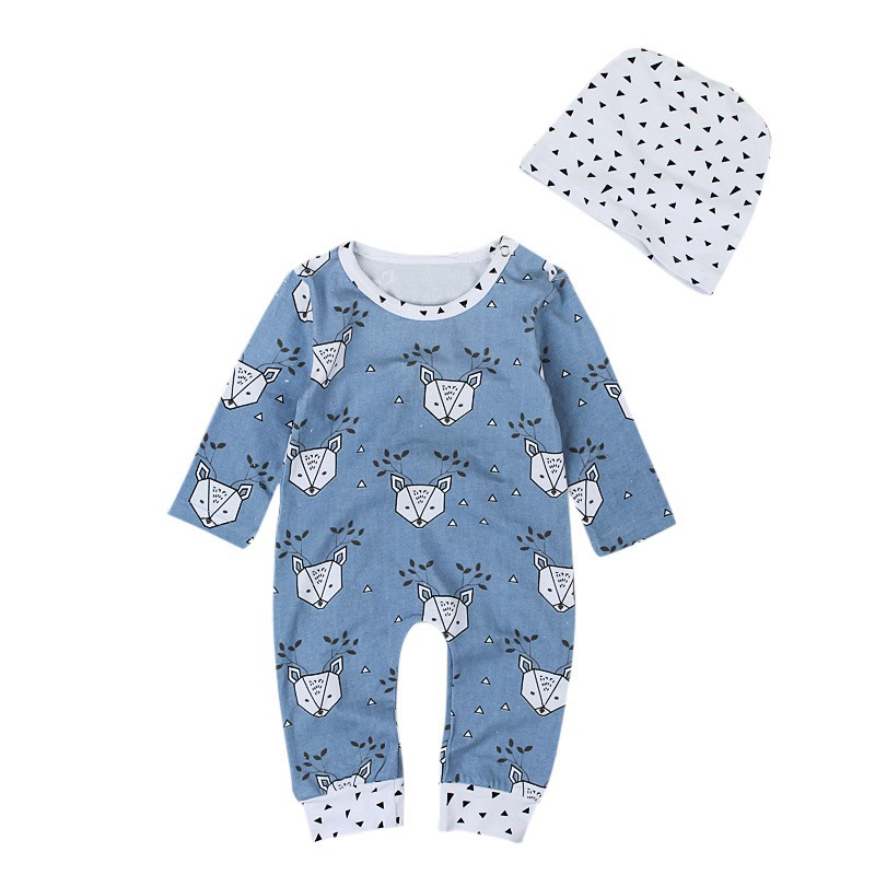 Spring Autumn Baby Boys Girls Print Long Sleeve Rompers + Hat Toddler Soft Clothes Suits Set