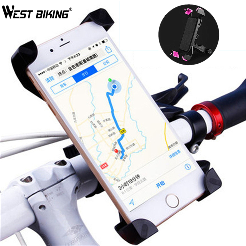 WEST BIKING Universal Bicycle Phone Holder 3.5 inch to 5.5 inch Universal Navigation Frame Road Bike Bicycle Phone Holder