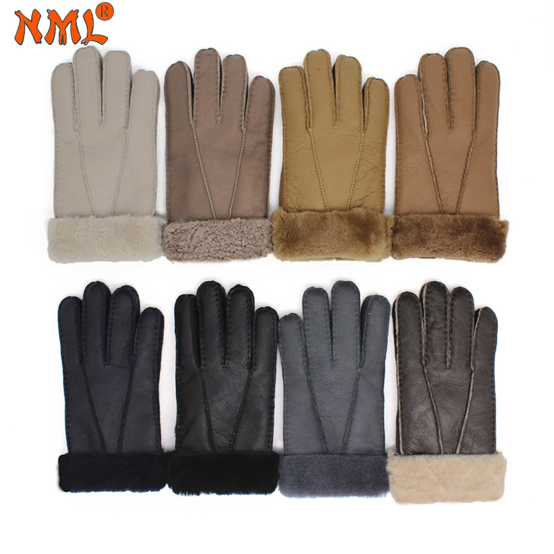 Luva Masculina Winter Gloves,Real Fur Sheep skin Men Genuine Leather Mittens Keep Warm Screen Windproof Driving Gloves Male N22