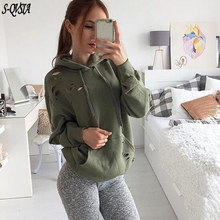S-QVSIA fashion solid color hooded jacket long sleeve women's hoodies sweatshirts autumn winter outerwear coats