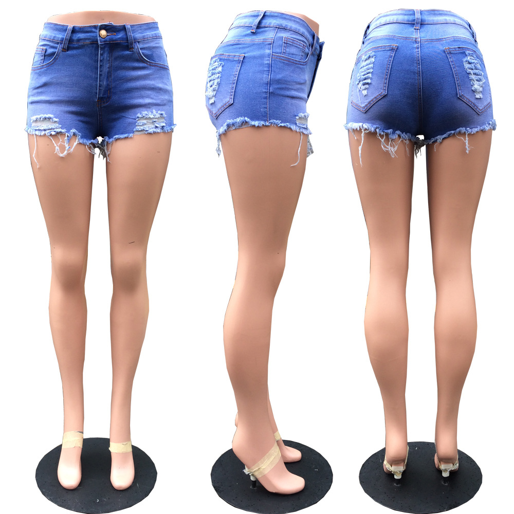 822d6c3390 Women Denim shorts Sexy Hole Ripped Summer skinny tight cotton spandex  stretch Mini short jeans Pantalon corto mujer 1706L23-in Shorts from Women's  Clothing ...