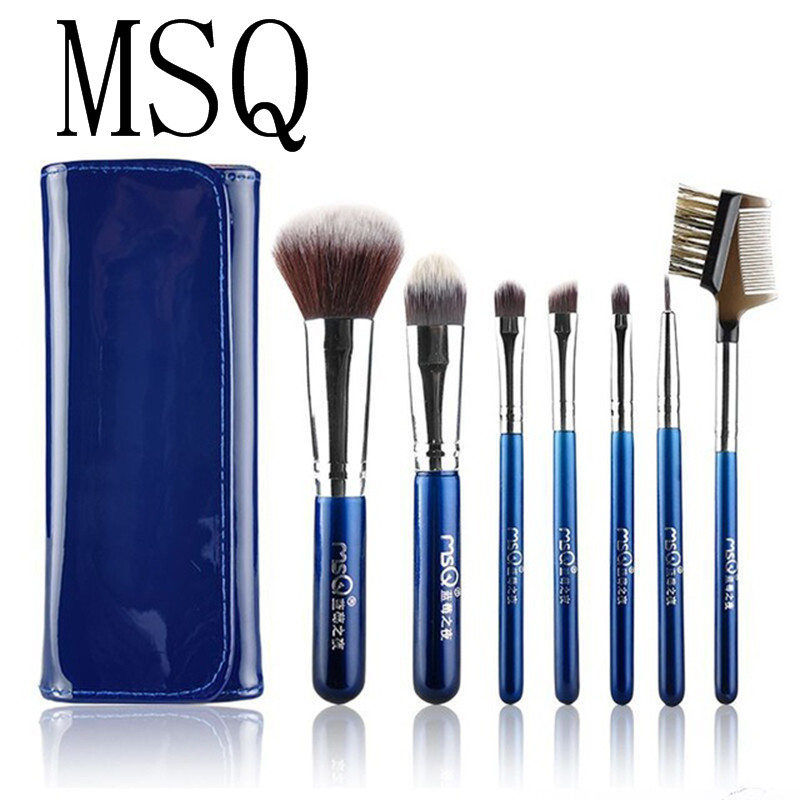 MSQ 7pcs Blue Travel Makeup Brushes Set Soft Artificial fiber with PU Leather Case Fashion Beauty makeup tool msq 15pcs professional makeup brushes set foundation fiber goat hair make up brush kit with pu leather case makeup beauty tool
