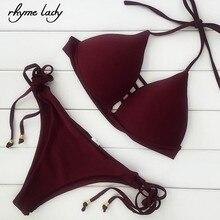 Рифма женские комплект из двух предметов Купальник push up стринги бикини Установить Brazilianswimwear купальный костюм для девочек с высокой талией biquini