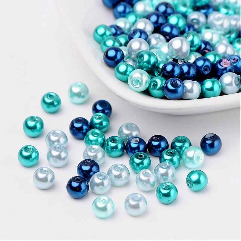 PANDAHALL Glass Pearl Beads 6mm Mixed Color 200pcs/bag Pearlized Hole 1mm Round For DIY Jewelry Making Drop Shipping Wholesale